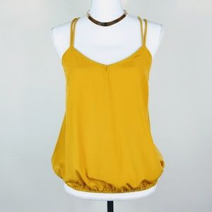 Solemio Mustard Yellow Strappy Cross Back Tank